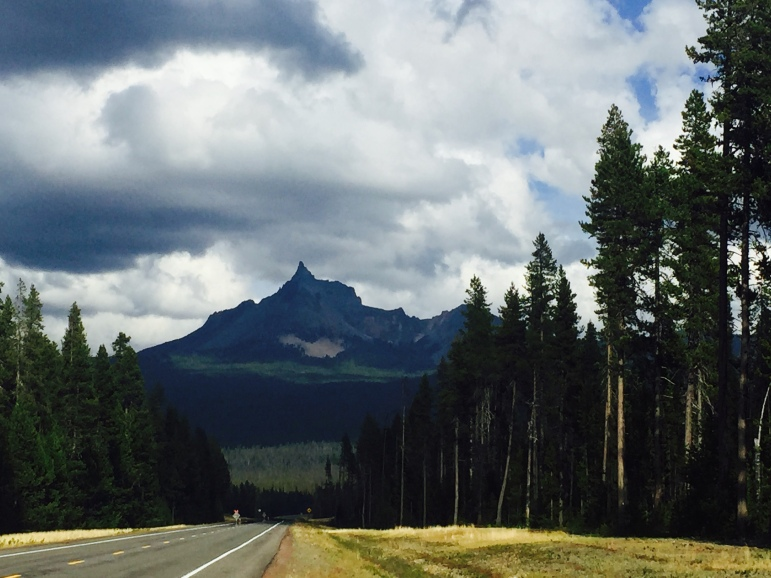 Gorgeous drive through Oregon. View of Mount Thielsen an extinct shield volcano in the High Cascades mountain range