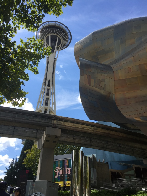 The famous Space Needle and the impressive building of the MEC