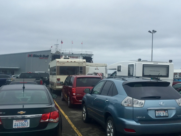 First time on a ferry with the XPCamper. Waiting to get on board the ferry from Port Angeles, WA to Victoria, BC