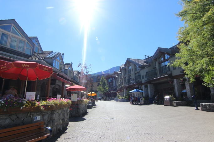 Whistler Village. Hotels, shops, bars and restaurants.