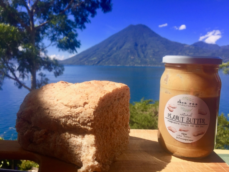 Everything looks better with a lake and a volcano in the back. Crazy about that local peanut butter.